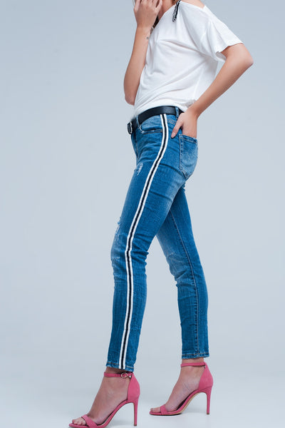 Dark Denim Jeans With Side Stripe - steele-gray-rose