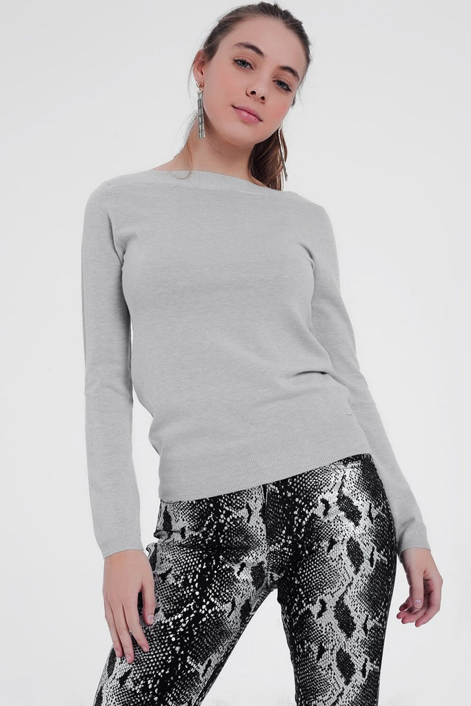 Gray Sweater With Boat Neck and Long Sleeves