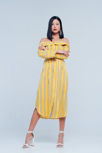 Yellow Striped Dress With Open Shoulders - steele-gray-rose