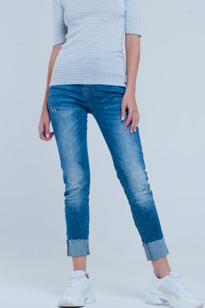 Turn Up Frayed Hem Jeans - steele-gray-rose