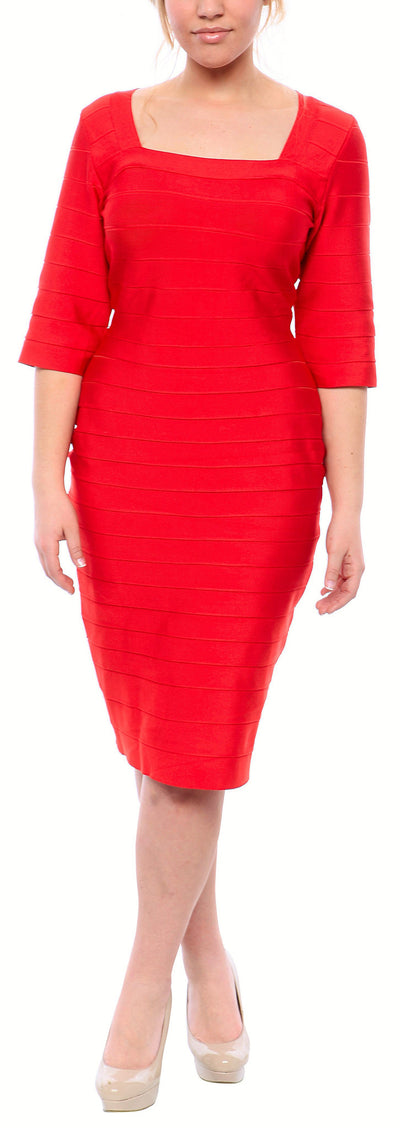 Sexy Plus Size Bandage Dress in Black or Red - steele-gray-rose