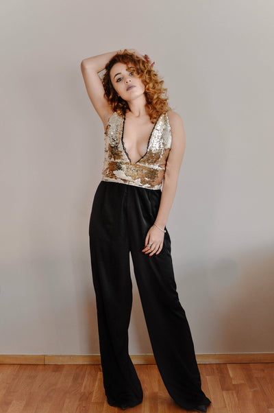 Golden Sequin Plunging Neckline Jumpsuit - steele-gray-rose