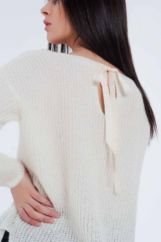 Cream Coloured Sweater With V-Neck