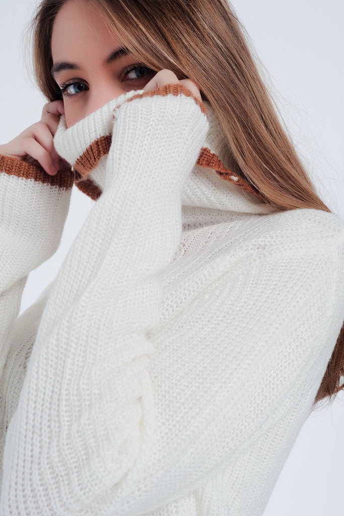 Cream Detail Knitted Sweater With Cowl Neck