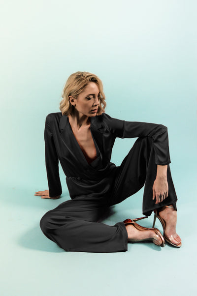 Black Silk Jumpsuit - steele-gray-rose