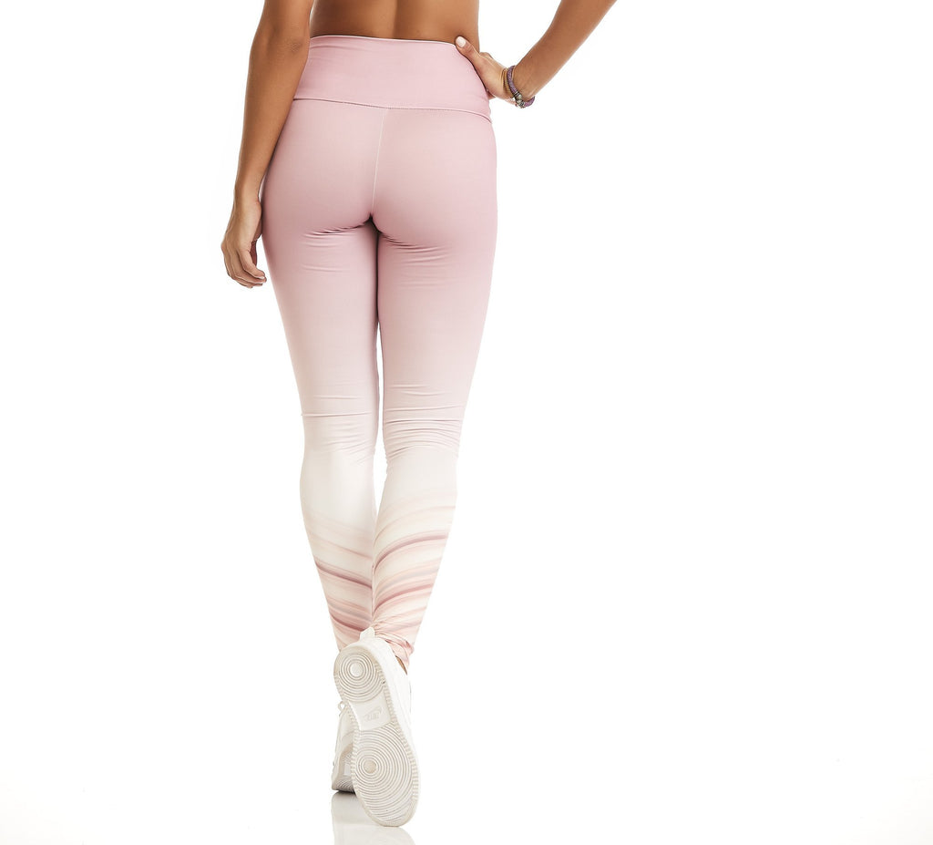 Velozes Ombre Print Compression Leggings - steele-gray-rose