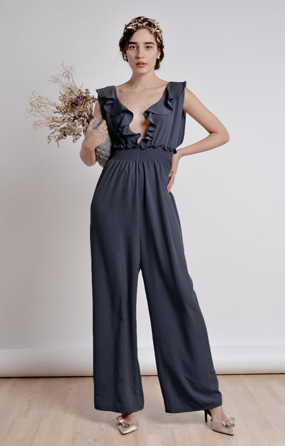The Farah Jumpsuit - Bastet Noir - steele-gray-rose