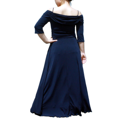 Evanese Women's Plus Size Formal Long Evening Dress 3/4 Sleeves and Side Flare - steele-gray-rose