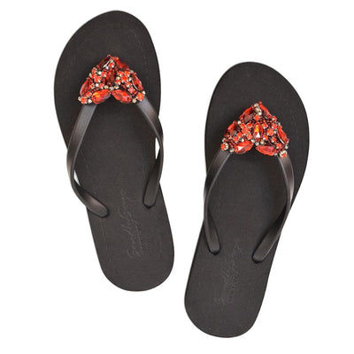 Chelsea Heart (Red) - Women's Flat Sandal - steele-gray-rose