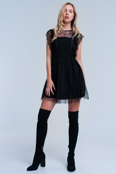 Black Midi Dress With Lace - steele-gray-rose