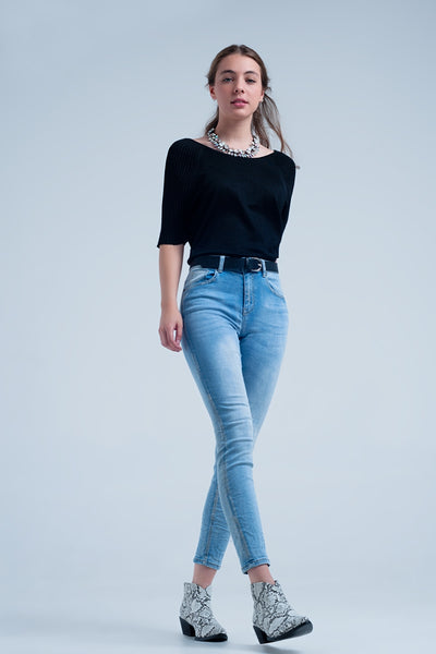Light Wash Skinny Jeans With Crinkle Effect - steele-gray-rose