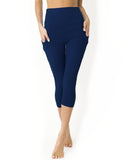 High Waisted Yoga Capri Leggings - Navy Blue - steele-gray-rose