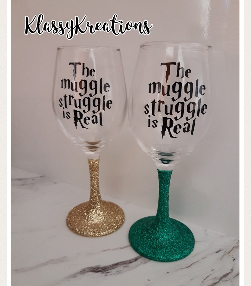 Personalised Wine Glass/Plastic Glitter Stem