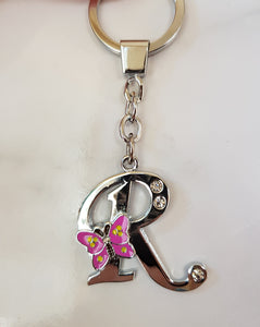 ALPHABET KEY RING silver butterfly
