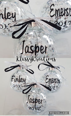 Personalised bauble with stars inside ANY NAME