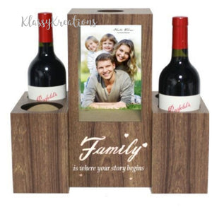 Wood tone photo frame - wine holder