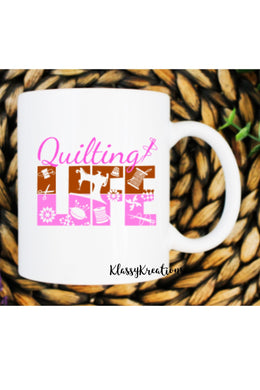 QUILTING LIFE - white mug 11oz