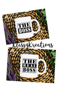 THE BOSS & THE REAL BOSS - white mug set 11oz