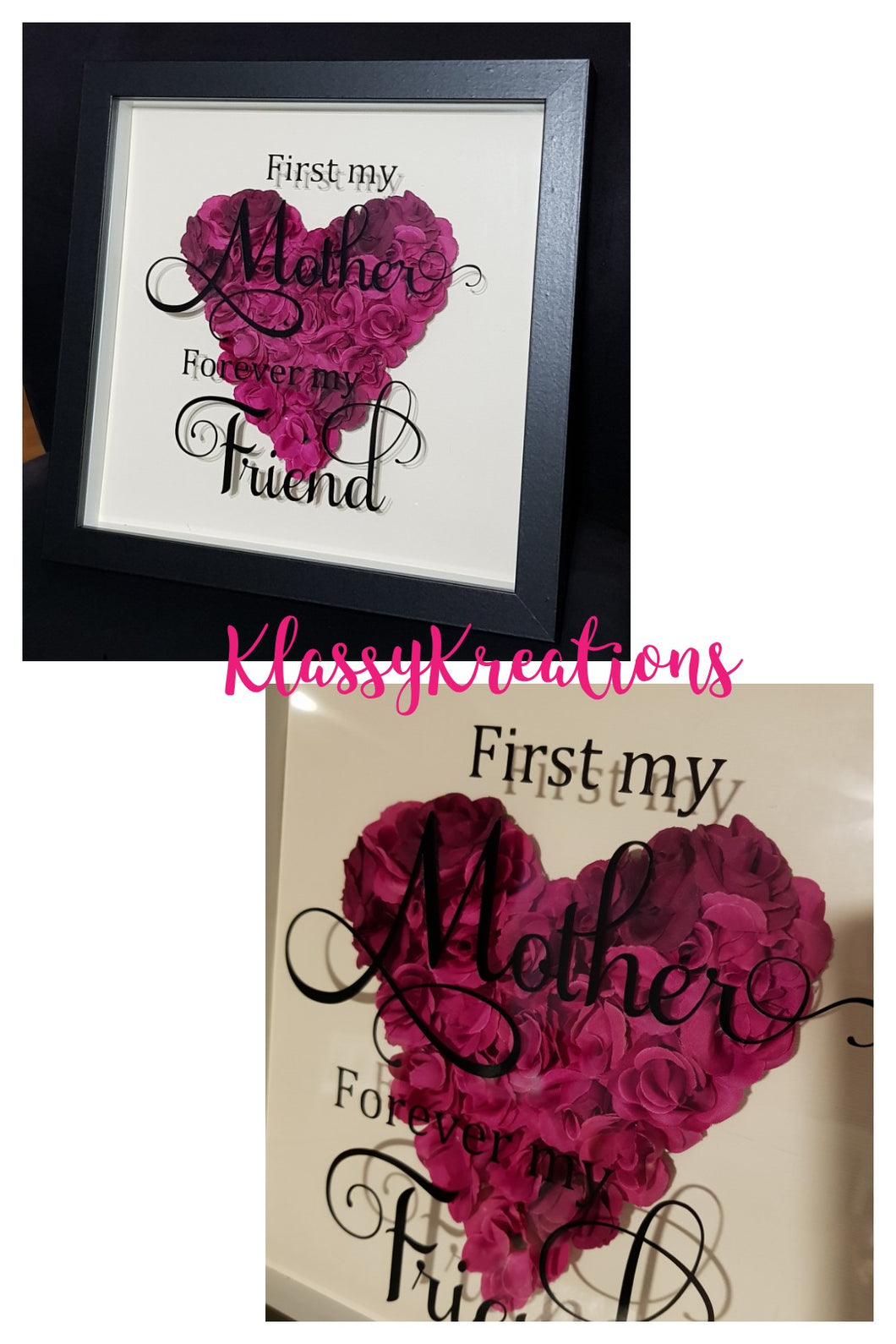 Shadow Box Frame with Flowers - First my Mother