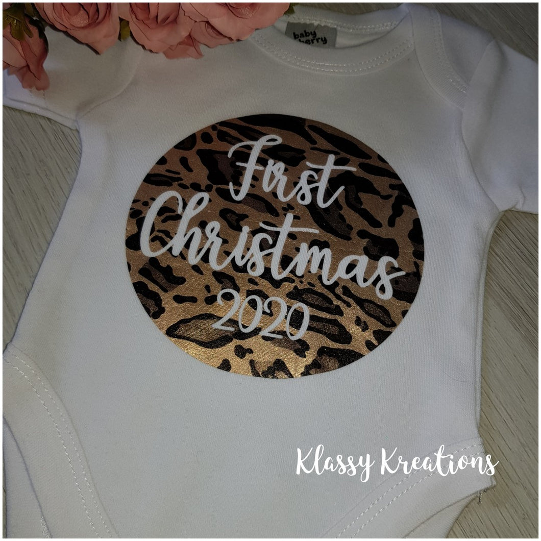 FIRST CHRISTMAS 2020 - Leopard Print Baby Bodysuit