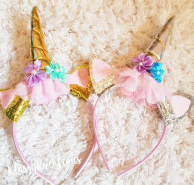 Sparkly unicorn headband GOLD OR SILVER