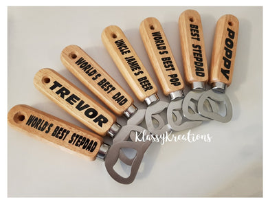 Personalised bottle opener - wooden