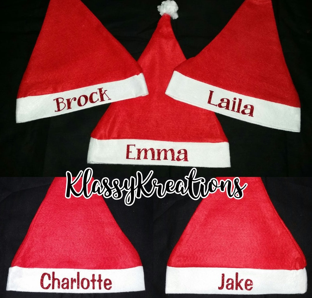 Personalised santa hats ANY NAME