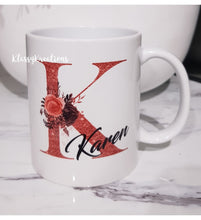 ANY NAME floral personalised inital with name Mugs - white 11oz