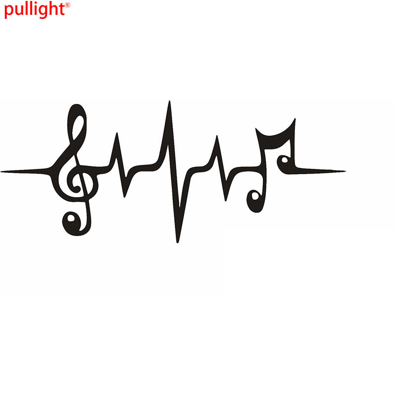 Music Note Heartbeat Graphic Die Cut Window Decal Sticker For Car - Die cut window decals