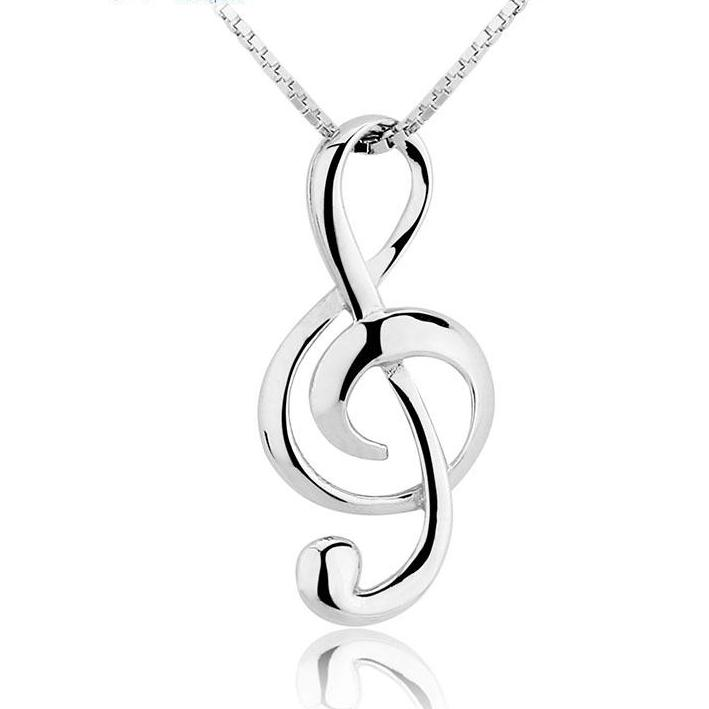 Treble clef sterling silver necklace geek armor clothing treble clef sterling silver necklace aloadofball Gallery