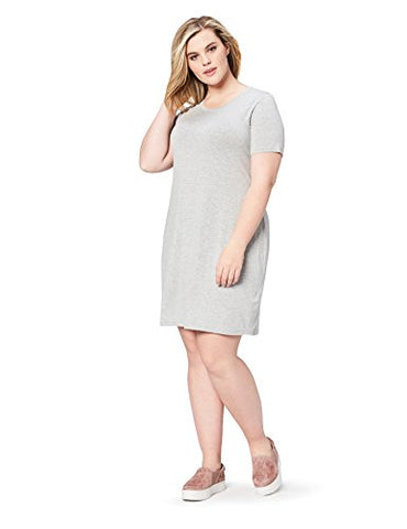 Daily Ritual Women's Plus Size Jersey Short-Sleeve Scoop Neck T-Shirt Dress, 7X, Light Heather Grey