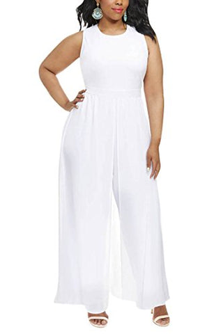 Linsery Women Plus Size Sleeveless Chiffon Overlay Going Out Legged Jumpsuit 1X