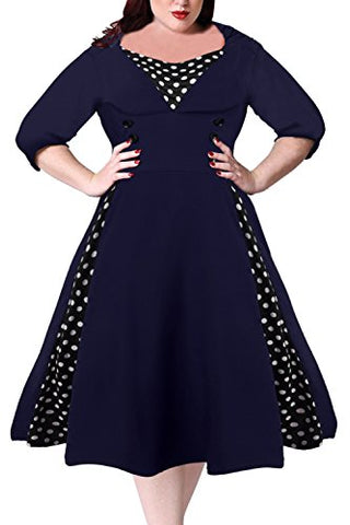 Nemidor Women's Half Sleeves 1950s Vintage Style Plus Size Swing Dress (22W, Navy)