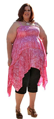 "Plus Size Smocked Christina Tails Top by BBW Boutique in Pink - Size 7X/8X 72-76"" Bust"