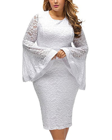 Daci Plus Size Bell Sleeves Lace Dress