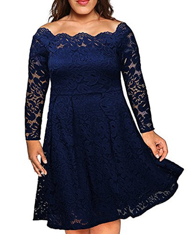 Nemidor Women's Vintage Floral Lace Sleeved Plus Size Cocktail Formal Swing Dress (Navy, 22W)