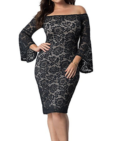 Daci Plus Size Empire-Waist Lace Off-The-Shoulder Bell Sleeves