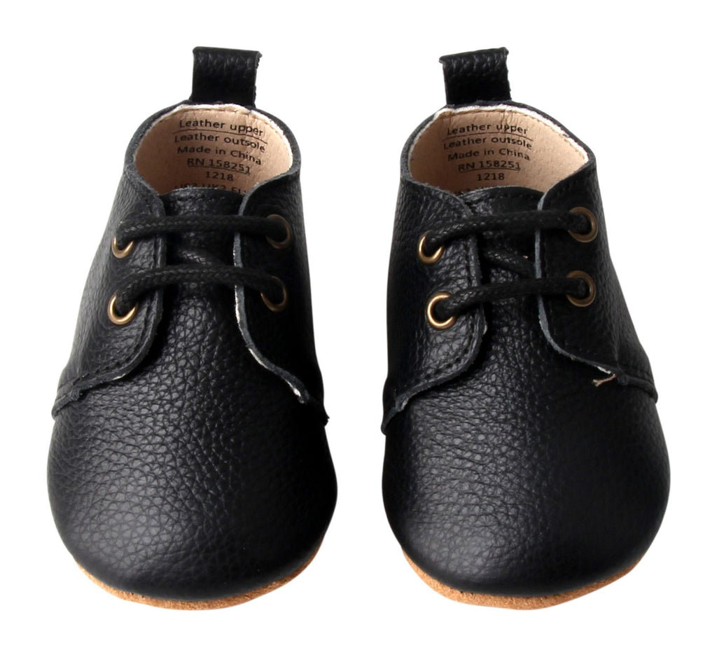 Black - Oxford - US Size 1-4 - Soft Sole Shoes Deer Grace