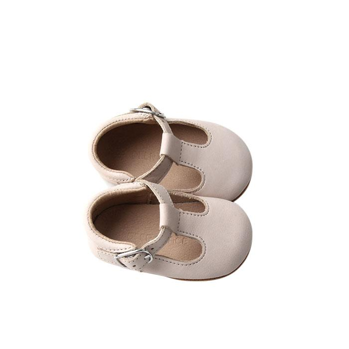 Cream - Classic T-Bar - US Size 1-4 - Soft Sole Shoes Deer Grace