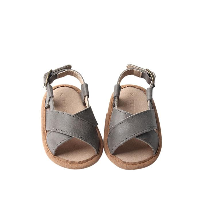 Grey - Cross Sandal - US Size 1-4 - Soft Sole Shoes Deer Grace