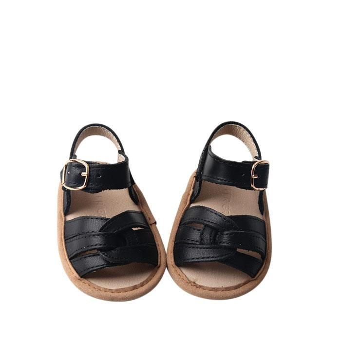 Black - Desert Sandal - US Size 1-4 - Soft Sole Shoes Deer Grace