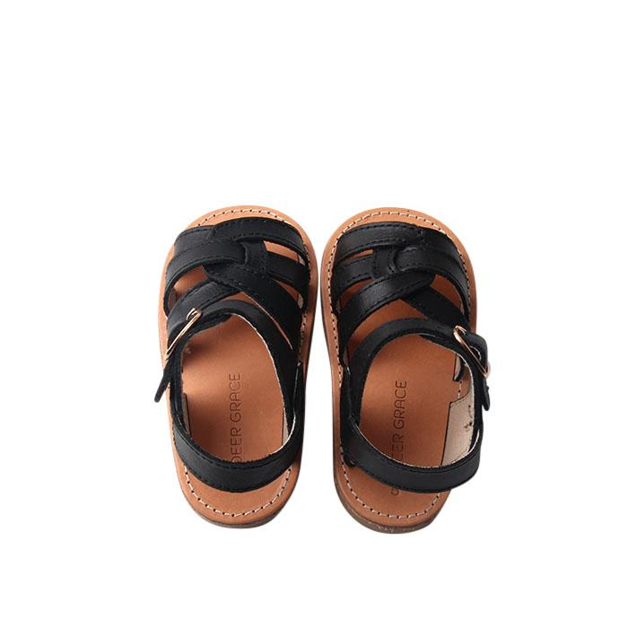 Black - Desert Sandal - US Size 5-9 - Hard Sole Shoes Deer Grace