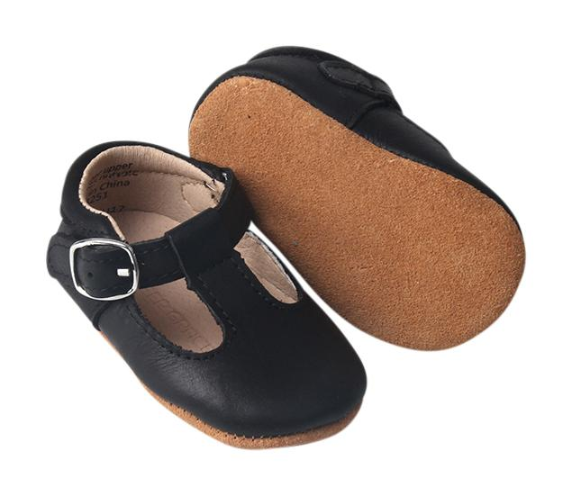 Black - Classic T-Bar - US Size 1-5 - Soft Sole Shoes Deer Grace