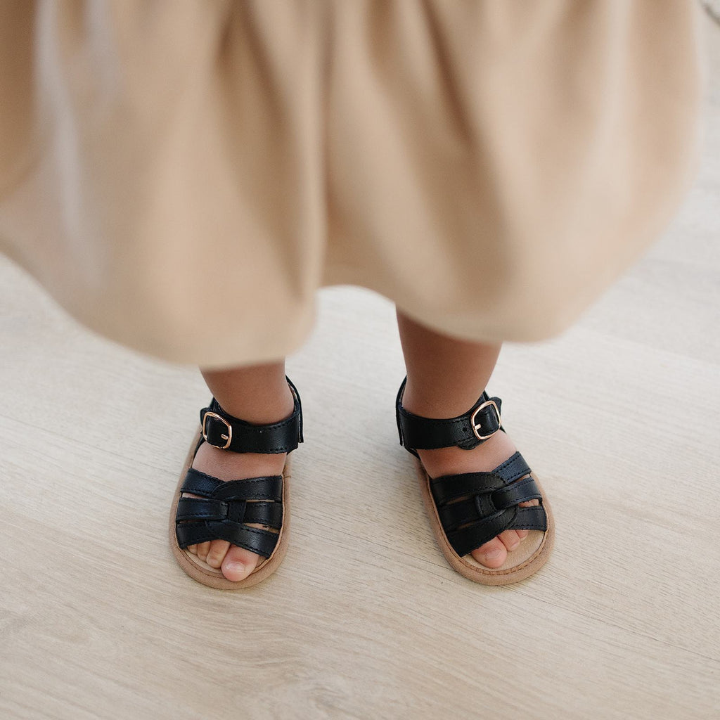 Black - Desert Sandal - US Size 2-4 - Soft Sole Shoes Deer Grace
