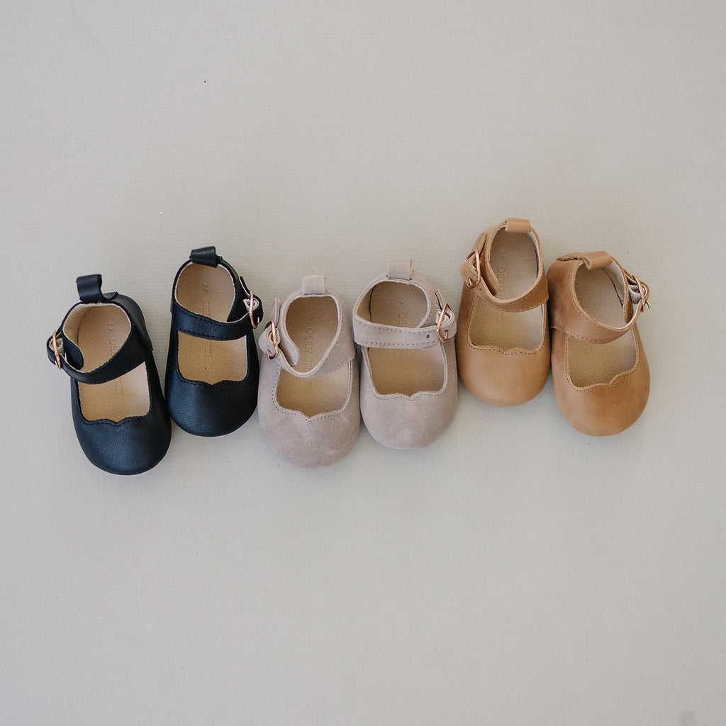 Slate Suede - Mary Jane - US Size 1-4 - Soft Sole Shoes Deer Grace