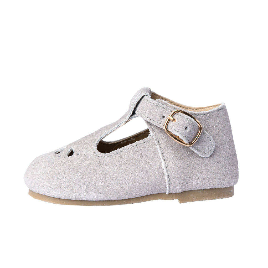 Slate Suede - Daisy T-Bar - Hard Sole Shoes Deer Grace