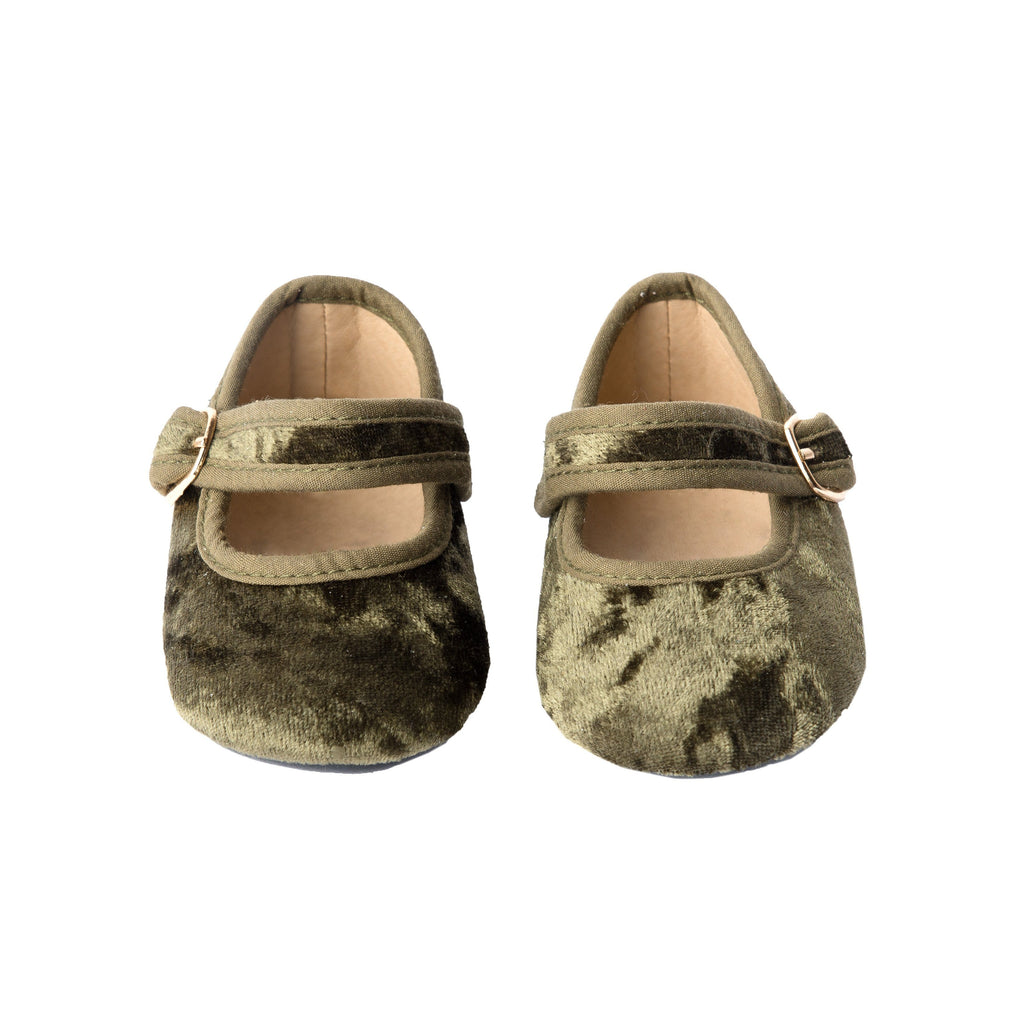 Olive Velvet - Mary Jane - Soft Sole Shoes Deer Grace