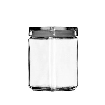 1.5 QT Square Jar with Glass LId