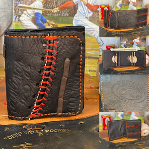 Custom order you own unique wallet. Your glove or ours! All hand cut and hand stitched!