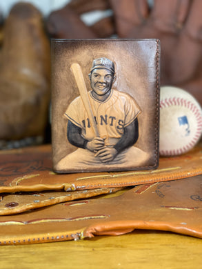 Willie Mays Carved Leather Art Wallet